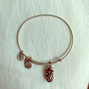 Silver Alex and Ani pineapple charm bracelet
